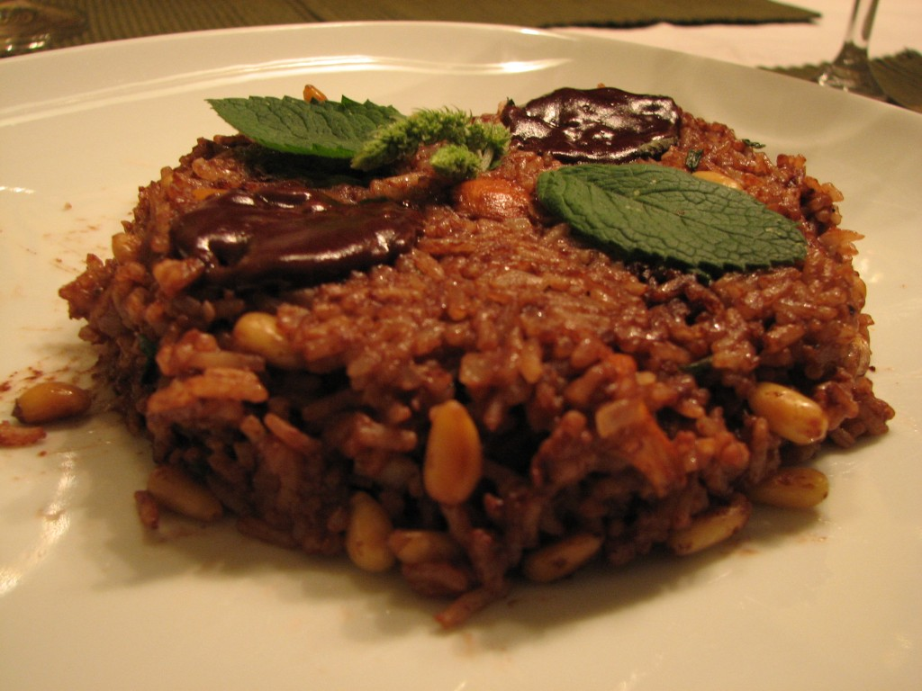 Risotto with chanterelles, pine nuts and dark chocolate