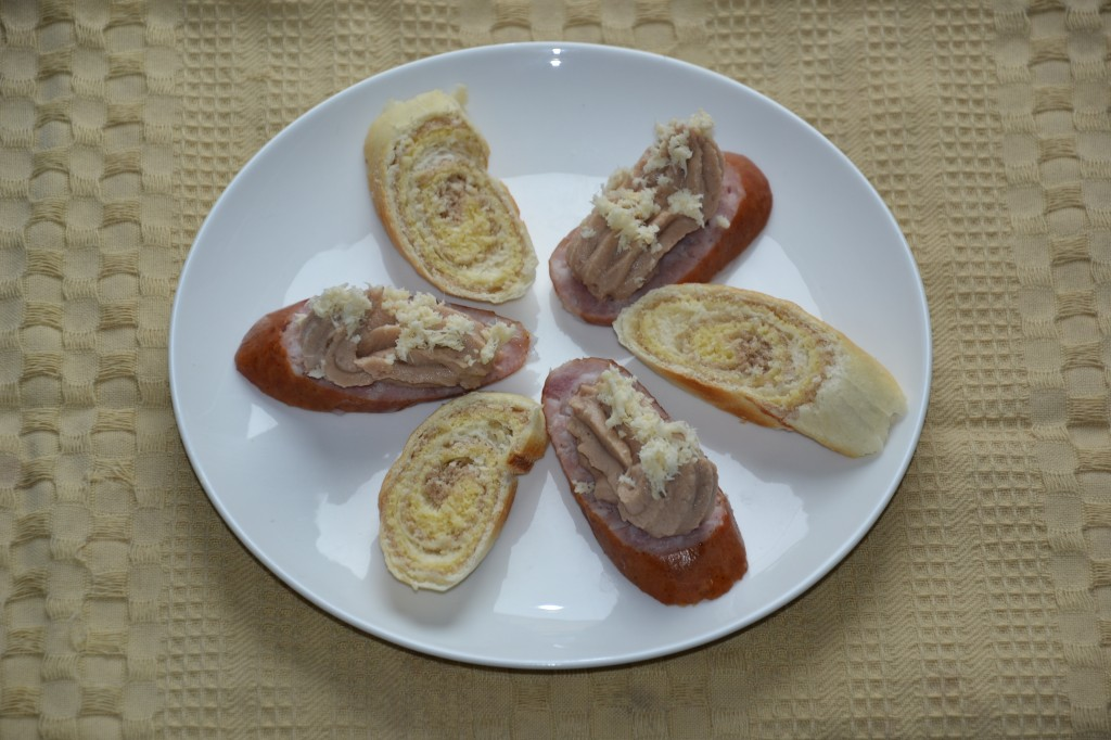 Chestnut mousse with trainer sausage and horseradish